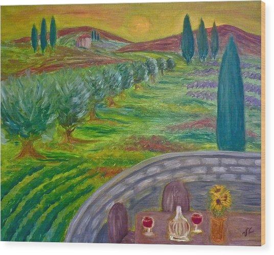 A Tuscan Balcony Wood Print