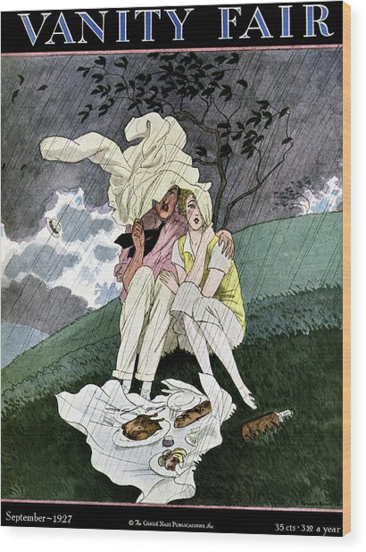 A Vanity Fair Cover Of A Couple Picnicking Wood Print