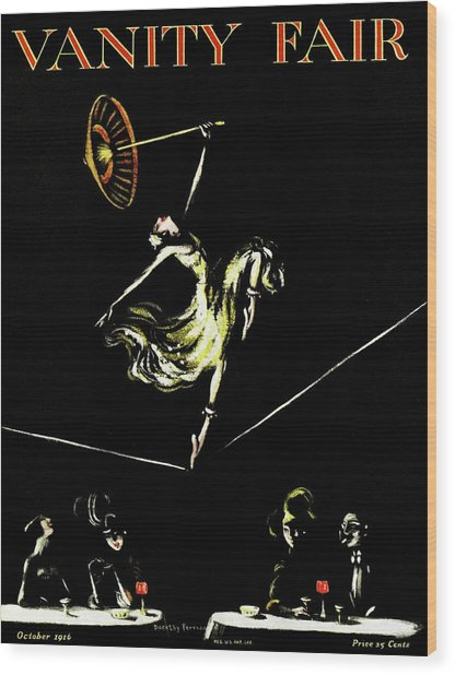A Vanity Fair Cover Of A Woman Tightrope Walking Wood Print by Artist Unknown