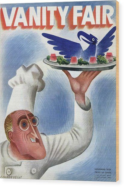 A Vanity Fair Cover Of Roosevelt At Thanksgiving Wood Print by Miguel Covarrubias