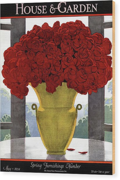 A Vase With Red Roses Wood Print