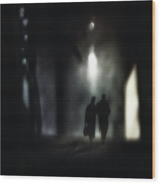 A Very Long Walk Together Wood Print by Piet Flour