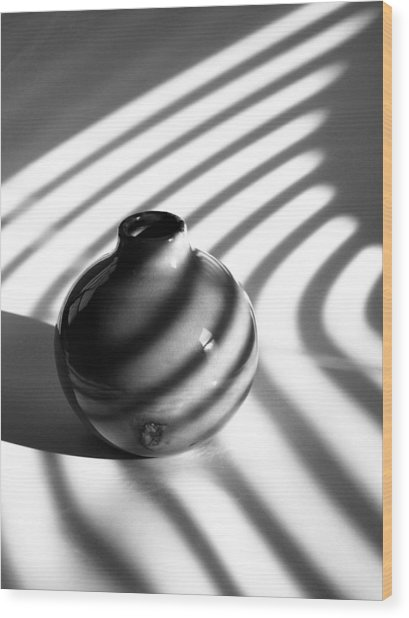 A Vessel...black And White Wood Print by Tom Druin
