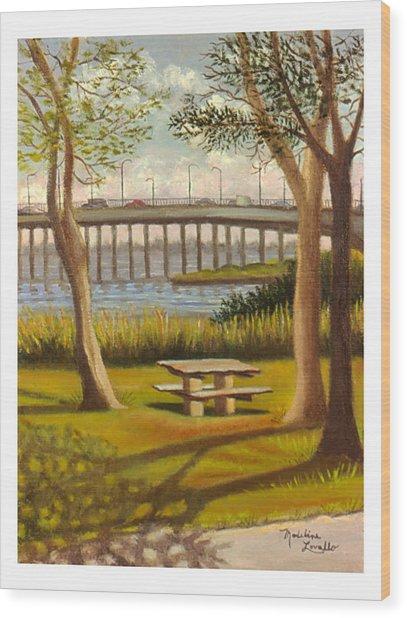A View Of Crossbay Bridge Wood Print