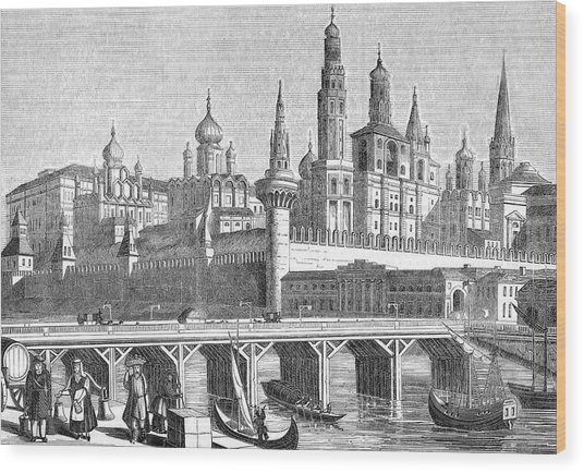 A View Of The Kremlin From The River Wood Print by Mary Evans Picture Library