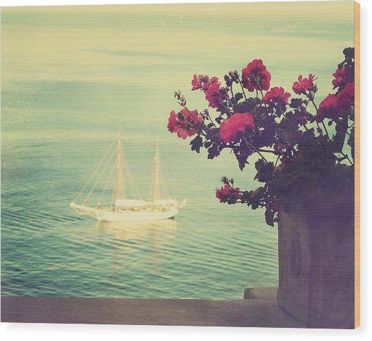 A View Of The Sea At Sorrento, Campania Wood Print