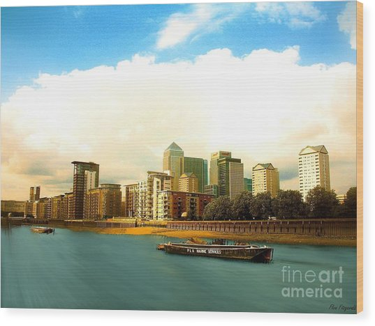 A View Over The River Thames Of Canary Wharf London Docklands England Wood Print by Flow Fitzgerald