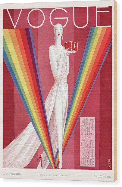 A Vintage Vogue Magazine Cover Of A Mannequin Wood Print