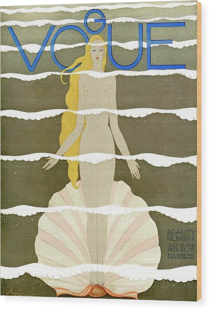 A Vintage Vogue Magazine Cover Of A Naked Woman Wood Print