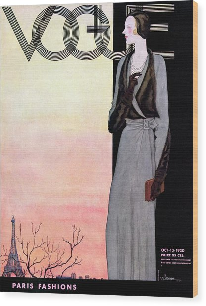 A Vintage Vogue Magazine Cover Of A Wealthy Woman Wood Print