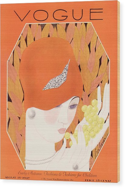 A Vintage Vogue Magazine Cover Of A Woman Eating Wood Print