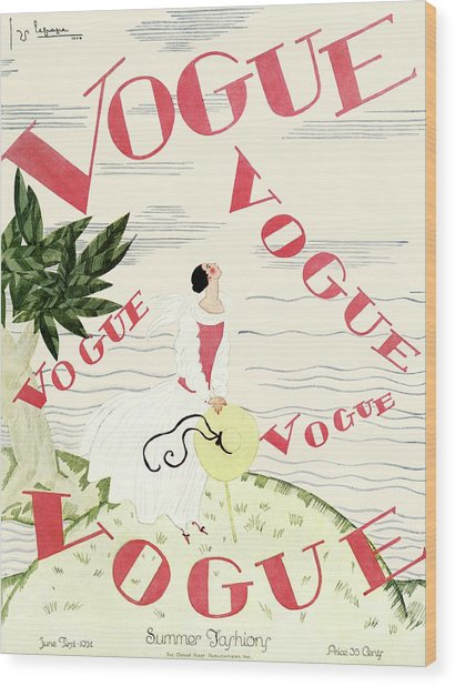 A Vintage Vogue Magazine Cover Of An Angel Wood Print