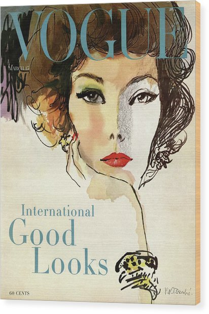 A Vogue Cover Illustration Of Nina De Voe Wood Print