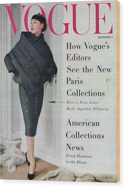 A Vogue Cover Of A Model Wearing A Dior Suit Wood Print
