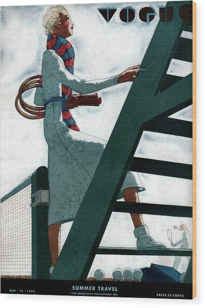 A Vogue Cover Of A Woman At A Tennis Court Wood Print