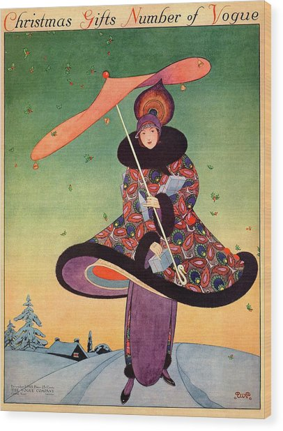 A Vogue Cover Of A Woman Holding An Umbrella Wood Print by George Wolfe Plank