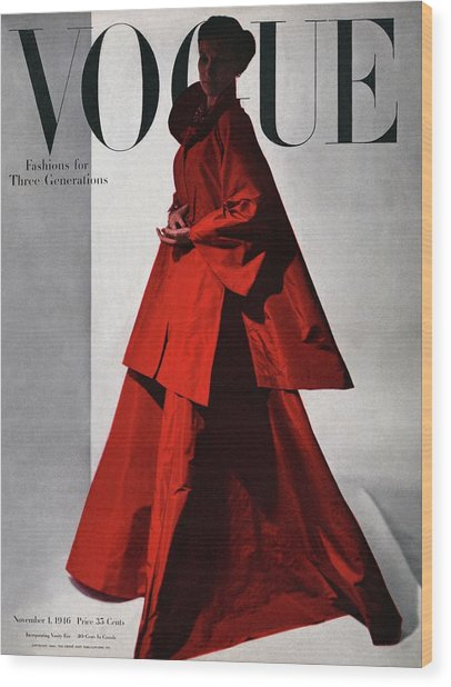 A Vogue Cover Of A Woman Wearing A Red Wood Print
