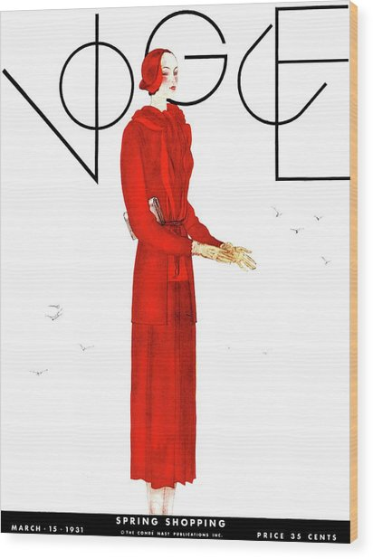A Vogue Cover Of A Woman Wearing A Red Suit Wood Print