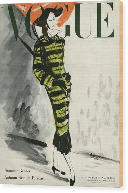 A Vogue Cover Of A Woman Wearing A Striped Coat Wood Print