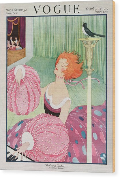 A Vogue Cover Of A Woman Wearing Pink Wood Print