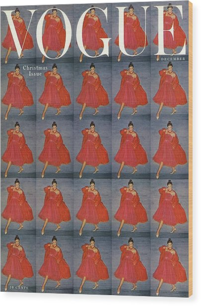 A Vogue Cover Of A Woman Wearing Red Wood Print