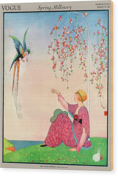 A Vogue Cover Of A Woman With A Bird Wood Print