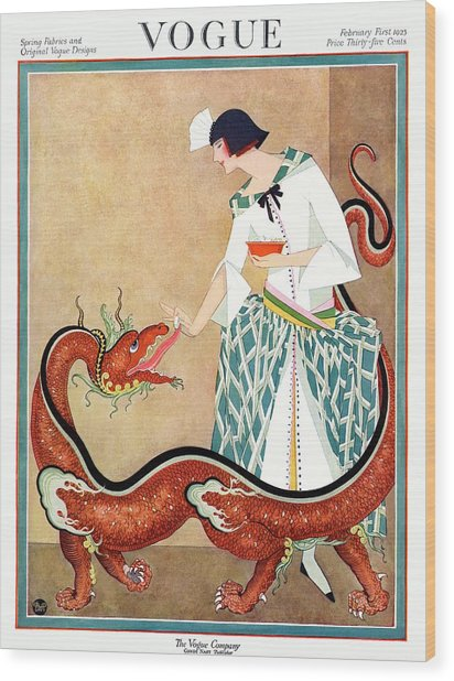 A Vogue Cover Of A Woman With A Chinese Dragon Wood Print