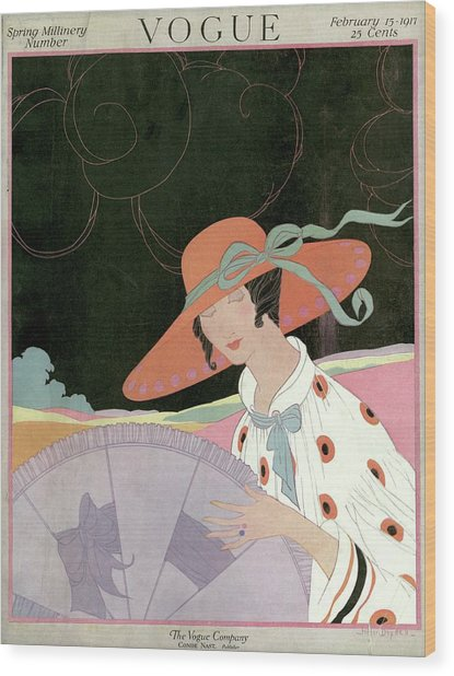 A Vogue Cover Of A Woman With A Parasol Wood Print