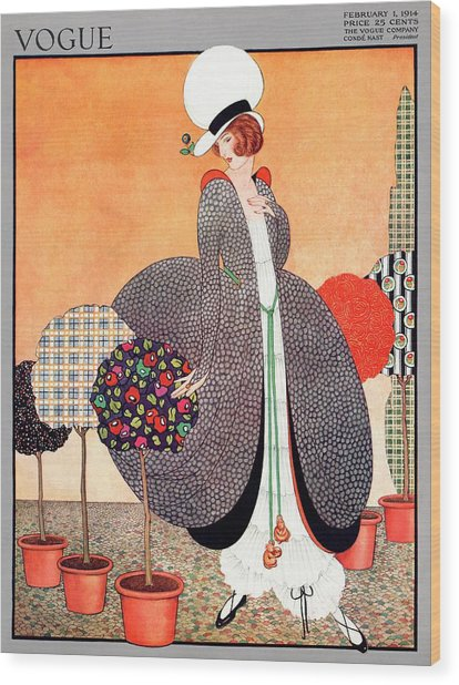 A Vogue Cover Of A Woman With Fabric Swatch Pot Wood Print