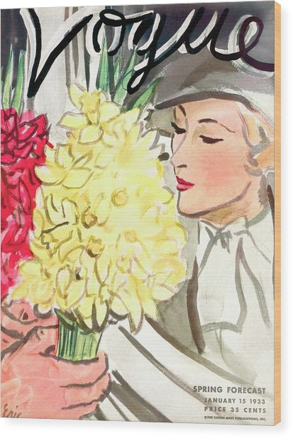 A Vogue Cover Of A Woman With Flowers Wood Print