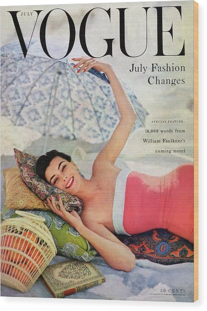A Vogue Cover Of Anne Gunning Under An Umbrella Wood Print