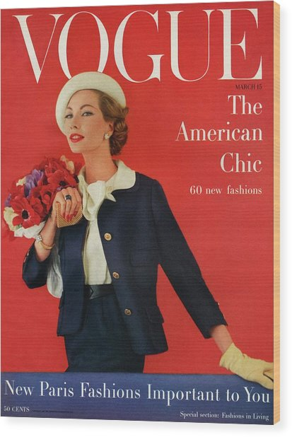 A Vogue Cover Of Jessica Ford With Flowers Wood Print