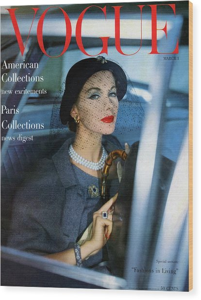 A Vogue Cover Of Joan Friedman In A Car Wood Print