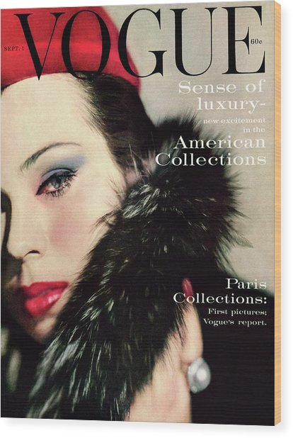 A Vogue Cover Of Morris Wearing A Fur Collar Wood Print