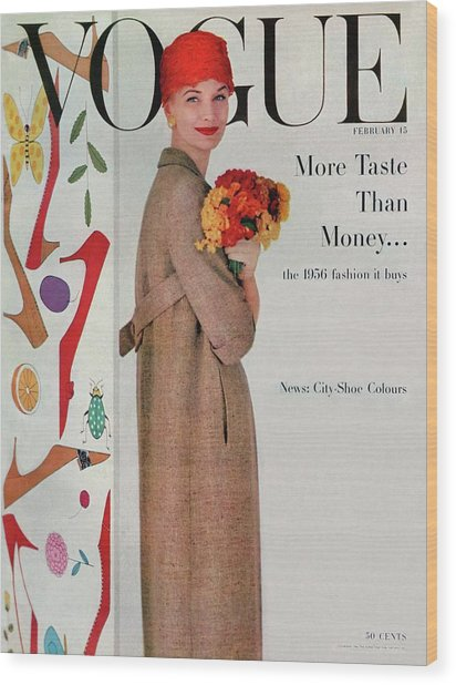 A Vogue Cover Of Sunny Harnett With Flowers Wood Print