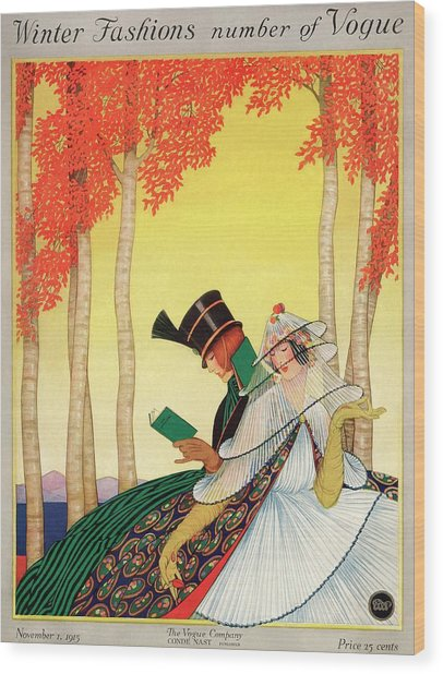A Vogue Cover Of Women Sitting In A Forest Wood Print