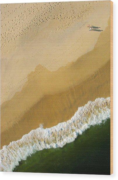 A Walk On The Beach. A Kite Aerial Photograph. Wood Print
