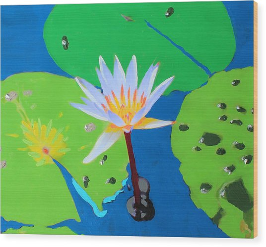 A Water Lily In Its Pad Wood Print