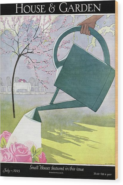 A Watering Can Above Pink Roses Wood Print