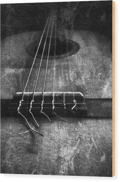 A Well Played Guitar Wood Print