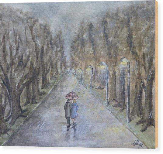 A Wet Evening Stroll Wood Print
