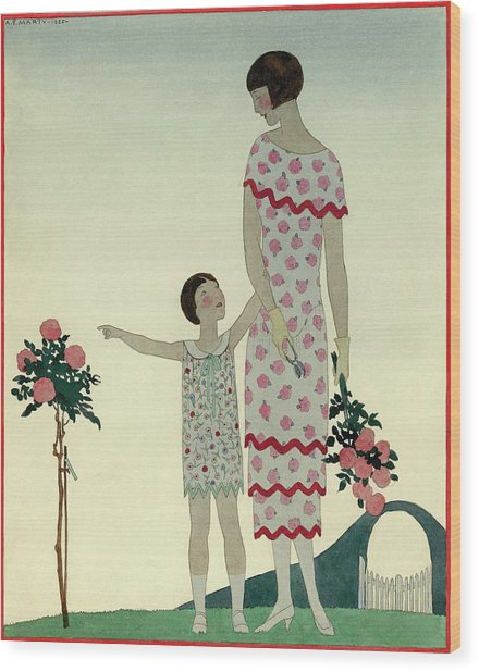 A Woman And A Little Girl Wood Print