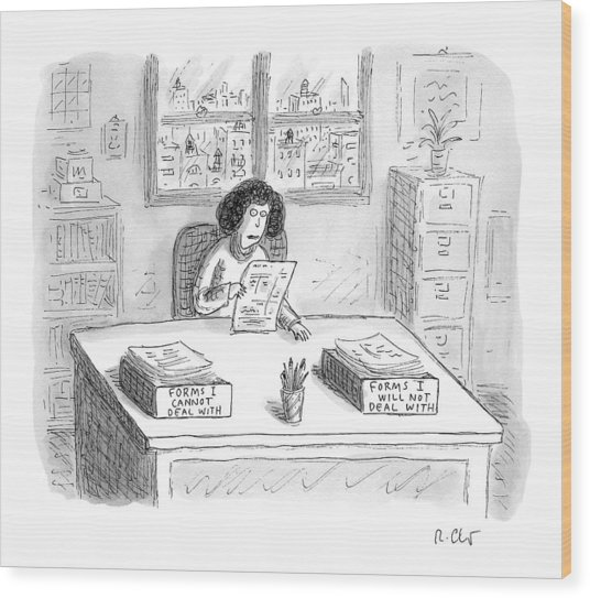 A Woman At A Desk With One Organizer That Says Wood Print
