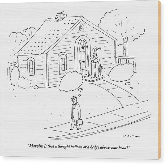 A Woman At The Front Door Calls To Her Husband Wood Print