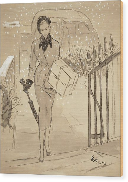 A Woman Carrying A Gift In The Snow Wearing Wood Print by Carl Oscar August Erickson