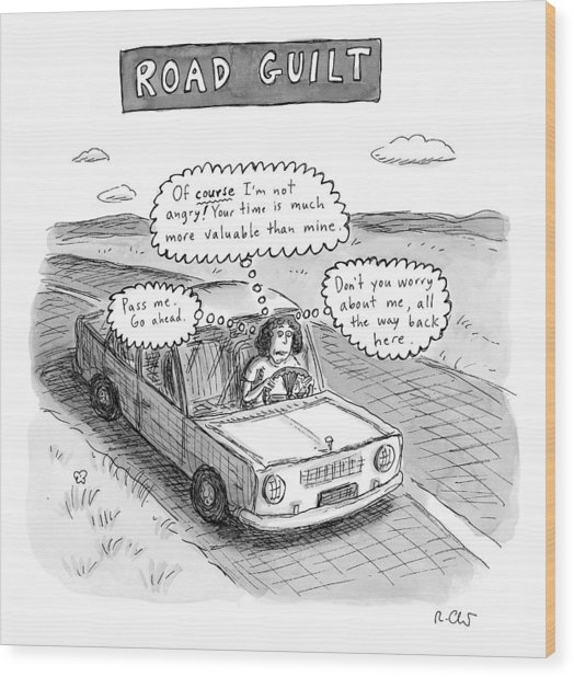 A Woman Driving Down The Road Acting Wood Print