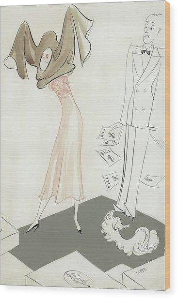 A Woman Hiding From Bills Wood Print by Eduardo Garcia Benito