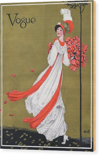 A Woman Holding Poppies Wood Print