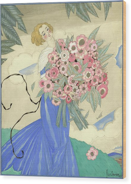 A Woman In A Blue Dress Holding A Bouquet Wood Print