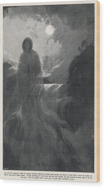 A Woman In White Haunts Aira  Force Wood Print by Mary Evans Picture Library